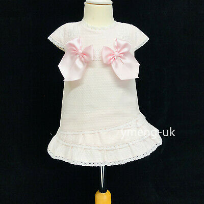 Beautiful Wee Me Baby Girl Pink Spanish Dress with Bows//Romany//Pink Bows