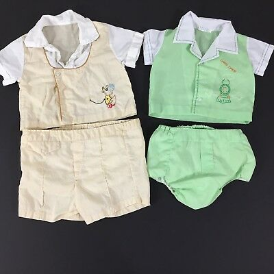 Lot of 2 Baby Boy Vintage Two Piece Outfit Embroidered Shirt Waterproof Pants