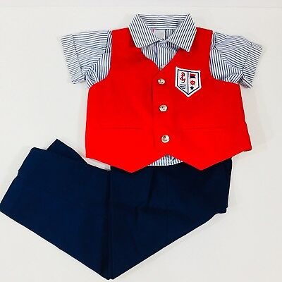 Toddler Boys Vintage Suit Vest Pants Shirt Blue Stripe Cotton Nautical 24 Months