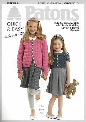 01e340c97 VAT Free Knitting PATTERN ONLY Patons Easy Knit Cute Cardigans 3773 4  Styles New