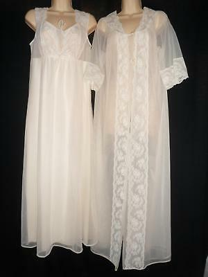 Vtg CHIFFON Nylon NIGHTGOWN PEIGNOIR ROBE SET Bridal Ivory Shadowline M 36 34