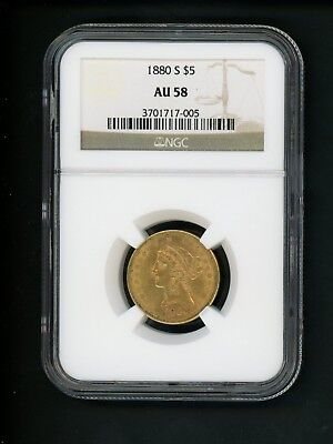 1880-S US $5.00 Gold Liberty $5 Half Eagle NGC AU 58 Almost UNC Nicely Struck