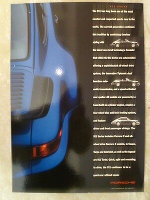 1991 Porsche 911 C2 / C4 & Turbo Showroom Advertising Sales Poster RARE! Awesome
