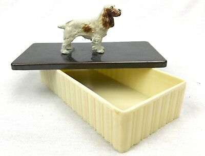 Vintage Cold Painted Bronze Spaniel Dog Box - Austrian - Safety Smoker