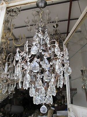 Antique Vnt French Big Cage Style Crystal Chandelier 1940's 15in Ø diamter*-*-