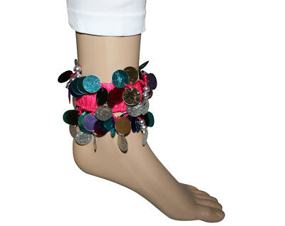 Black Red Yellow Pink Purple Blue Pair of Bracelet Wristband Ankle Cuff w/coins