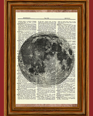 Moon Dictionary Art Print Picture Poster Outer Space Science Earth Gift