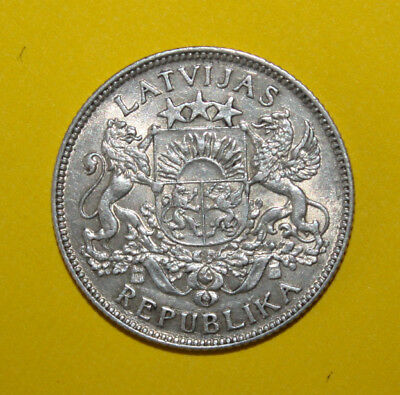 Latvia 1 Lats 1924 Extremely Fine +++ Silver Coin