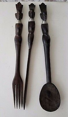 Tribal Wooden Set Fork Spoon Knife Wall Hangings African Tiki Style 14""
