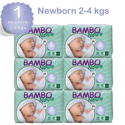 Bambo Nature Newborn  Nappies 2-4 Kgs 6 Packs In A Box 168 Eco Biodegradable
