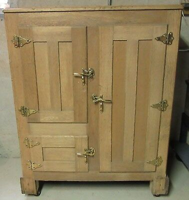 "Antique 3 Door Solid Oak Ice Box Chest Freezer ""PICK UP ONLY"""