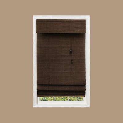 Textured Bamboo Blinds Woven Wood Roman Shade Window Covering Semi Private 23x48