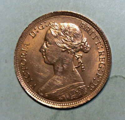 Great Britain 1/2 Penny 1893 Almost Uncirculated Coin - Queen Victoria