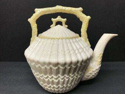 VTG Irish Belleek Limpet Tridacna Pattern Chocolate Teapot Set of 3 Green Mark