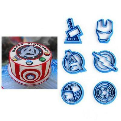 6x Hot Super Hero Marvel Avengers Cookie Icing Cutter Sugarcraft Cake Decorating