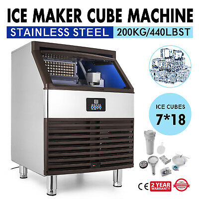Ice Cube Making Machine 440lb/24h Commercial Ice Cube Maker 126pcs Stainless