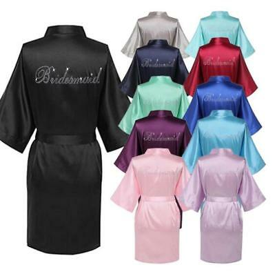 Silk Satin Robe  Beaded Bride Bridesmaid Wedding Gown Bathrobe Sleepwear