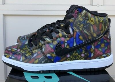 online store cc6b6 8afe9 Nike Dunk High Premium Sb Gym Red Black Stained Glass 313171 606 Size 9.5
