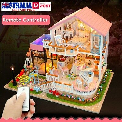 DIY Wooden Dolls House Miniatures Handcraft Villa Furniture LED Kit Kid Toy Gift