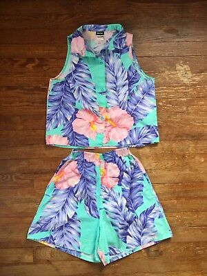 Vintage 90s Tropical Floral 2 Piece Crop Top High Waist Shorts Set Small/Medium