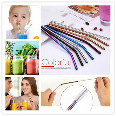 8PCS Reusable Stainless Steel Metal Drinking Straws + 2PC Cleaner Brush Kit Tool