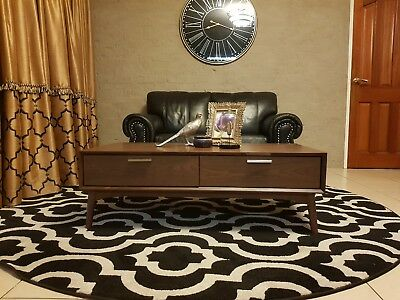 Coffee Table Mid Century Modern Retro Timber Walnut colour 2 drawer