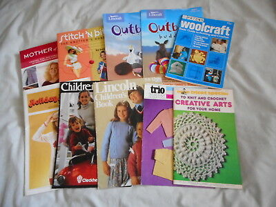 Bulk lot of Knitting and Crochet books and booklets: A total of 10