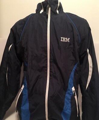 Vintage Women's IBM Computers Logo Windbreaker Jacket w/ Full Zip Size M