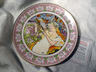 4 Art Nouveau Plates By Mucha  Women Of 4 Seasons Hutschenreuther Porcelain & 4 ART NOUVEAU Plates By Mucha  Women Of 4 Seasons Hutschenreuther ...