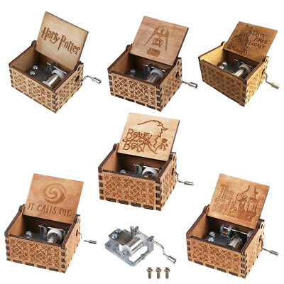 Various Character Wooden Hand Engraved Music Box Fun Interesting Toys Kids Gifts