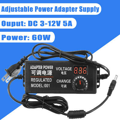 3-12V 5A 60W Speed Control Volt AC/DC Adjustable Power Adapter Supply Display