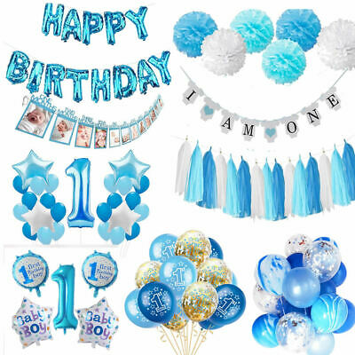 Baby Shower Blue Boy Foil Balloons Set 1-12th Banner Bunting 1st Birthday Party