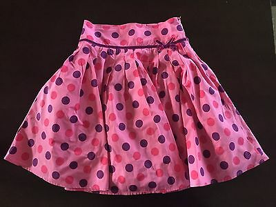 Mini Boden girls 9-10 pink purple polka dot lined skirt