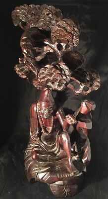 Chinese Hardwood Root Carving Of A Man Beneath A Tree