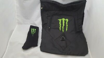 Monster Energy socks and Cinch Bag/backpack New FREE SHIPPING sticker included