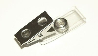 """100 ID Badge Clips -  Clear Vinyl Strap - Badge Holders """"FREE SHIPPING"""""""
