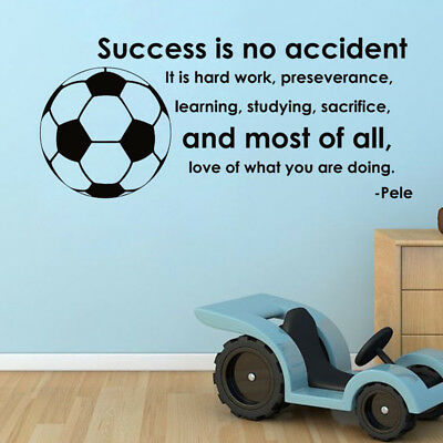 Football Soccer Ball Success Quote Sports Vinyl Wall Sticker Decal Kid Boys Room