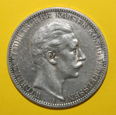 Germany - Prussia 3 Mark 1912-A Extremely Fine Silver Coin - King Wilhelm II