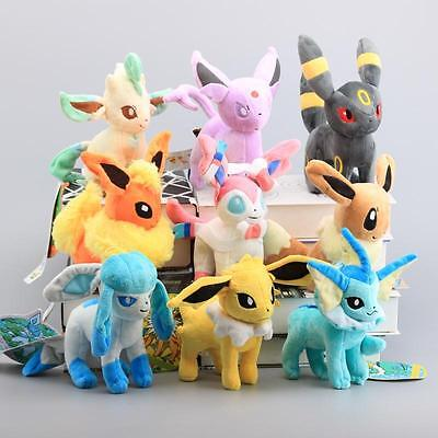 Set of 9 New Pokemon Evolution of Eevee Flareon Stand Plush doll Eeveelution Par