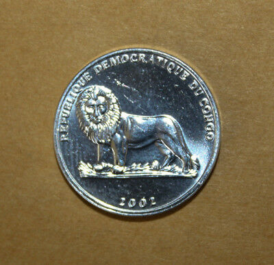 DR Congo 25 Centimes 2002 Brilliant Uncirculated Coin - Dog - Lion