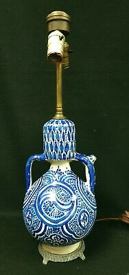 Antique Ceramic Pottery Puzzle Jug Blue & White Converted to Lamp