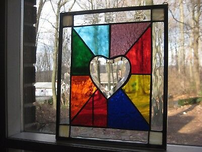 Color love 2 stained glass panel window with clear beveled heart