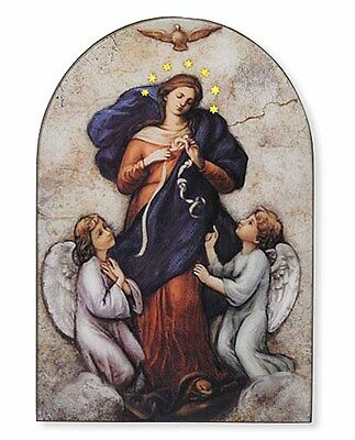 Mary, Untier of Knots 5x7 Inch Icon Wood Arched Plaque NEW (VC697) Gift Boxed