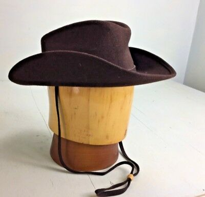 NK- Vintage 60's Mr. K original brown wool felt cowboy hat chin strap child?