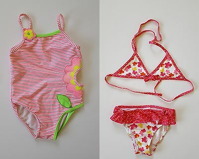 Girl's 2 Pink Swimsuits One-Piece Faded Glory & Butterflies Two-Piece, 24 Months