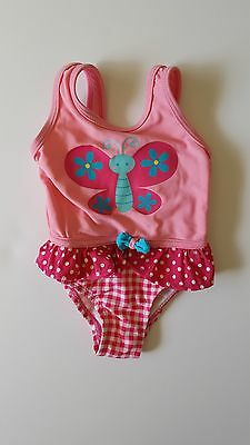 Girl's Pink One-Piece Butterfly Swimsuit Bikini, Size 6 Months, George