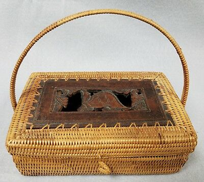 Vintage Indonesian Handmade Basket Box with Wood Turtle Carving