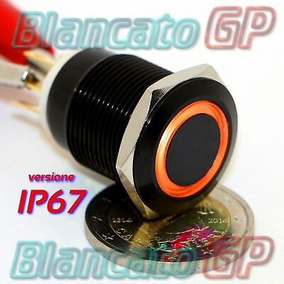PULSANTE MONOSTABILE 19mm IMPERMEABILE IP67 STAGNO LED ARANCIO 12V DC CORPO NERO