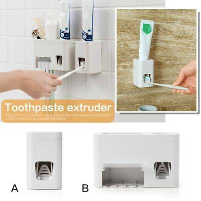 Automatic Squeezer Toothpaste Dispenser Wall Mounted Stand Tooth Brush Holder