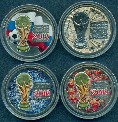 1st Russia 2016 World Cup 2018 25 Rbl Rubels set of 4 coins colored